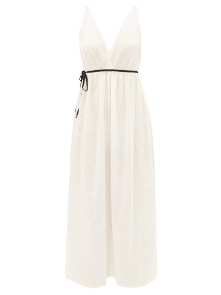Once Milano - Waist-tie Linen Midi Dress - Womens - White