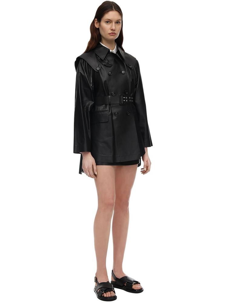 SPORTMAX Double Breasted Leather Jacket W/belt in black