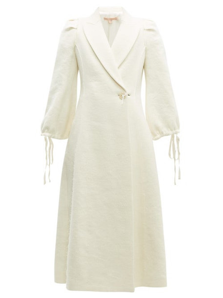 Brock Collection - Padova Single Breasted Textured Wool Blend Coat - Womens - Cream