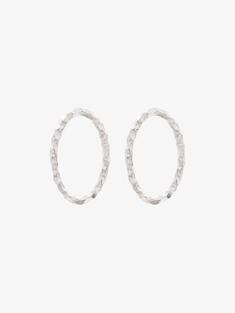 All Blues Silver Carved Medium Hoop Earrings