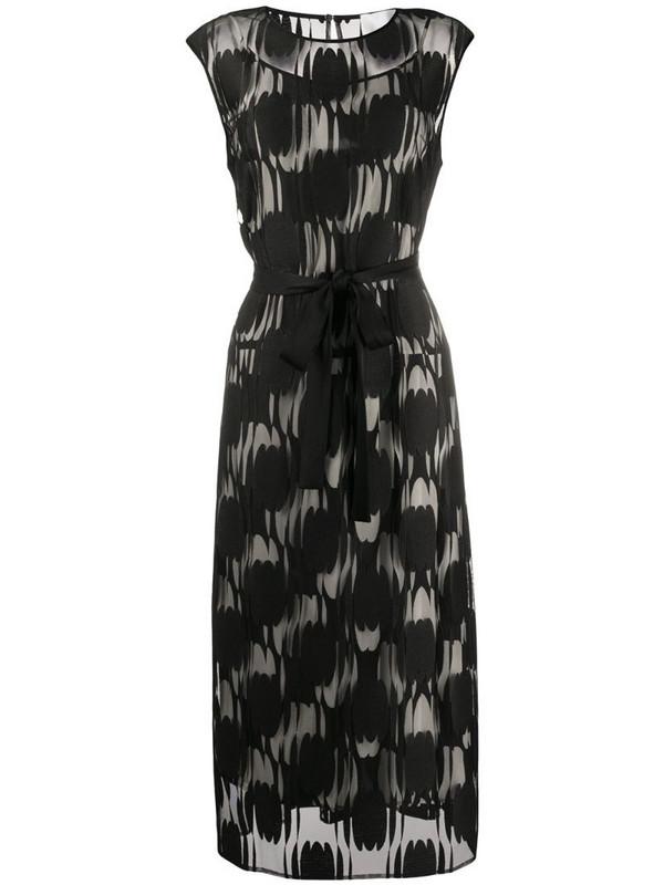 BOSS appliqué mesh printed dress in black