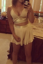 skirt,satin,pink satin,two piece dress set,crop tops,crop,cream set,cream satin,shorts,chiffon,chiffon shorts