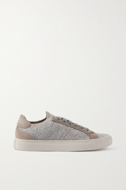 BRUNELLO CUCINELLI - Bead-embellished Cashmere And Suede Sneakers - Gray