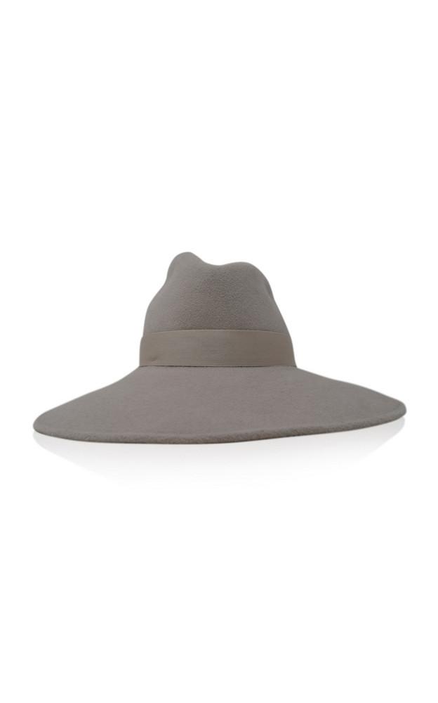 Gigi Burris Drake Asymmetric Velour Felt Hat in grey