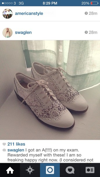 shoes crochet brogue shoes cream white beautiful pretty