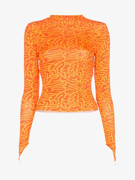 Maisie Wilen Intarsia jersey top in orange