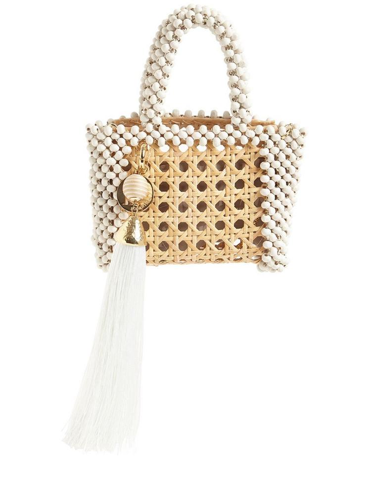 ROSANTICA Alida Straw Beaded Top Handle Bag in white