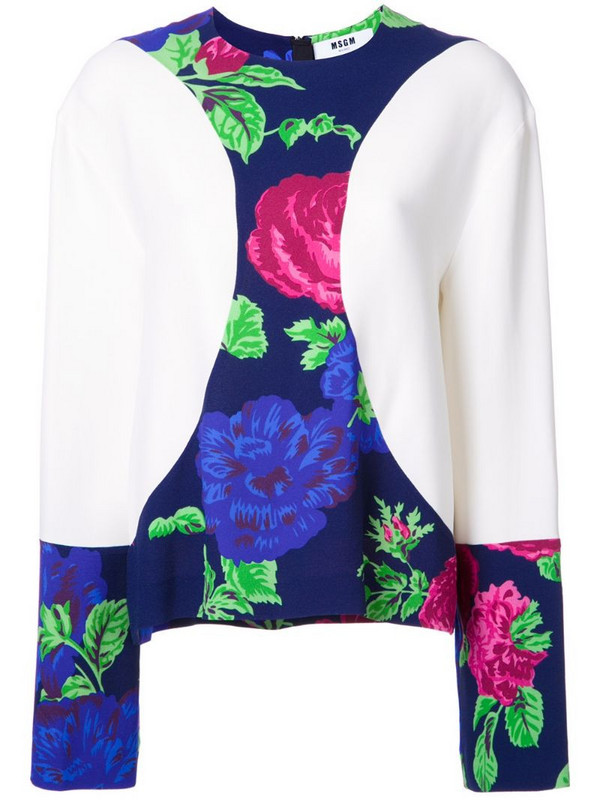 MSGM floral print detail blouse in white