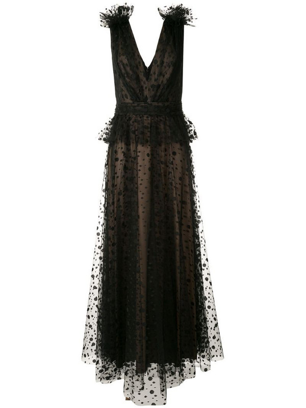 Tadashi Shoji sleeveless embroidered dotted tulle gown in black