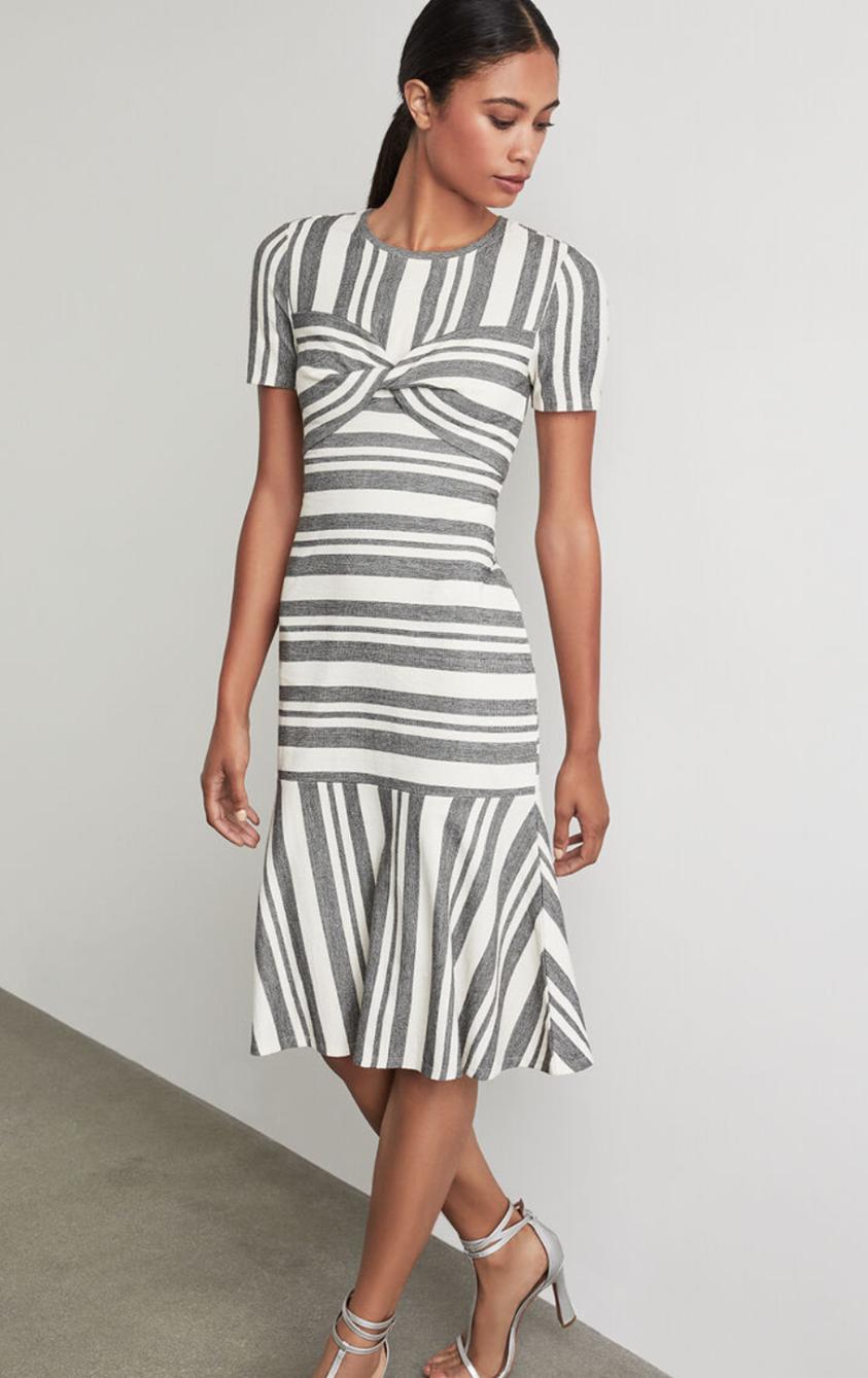 Twist Front Striped Dress