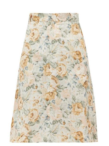 Ephemera - High-rise Floral-print Linen Skirt - Womens - Yellow Multi