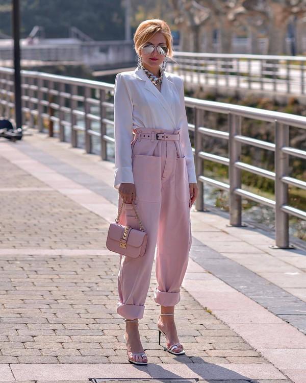 pants pink pants high waisted pants cargo pants white sandals cute pink bag white blouse wrap top isabel marant