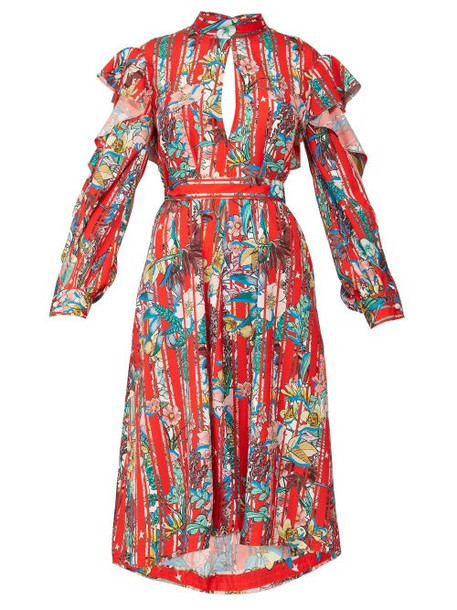 Golden Goose - Chieko Floral Print Ruffled Dress - Womens - Red Multi