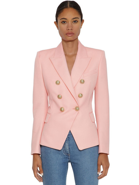 BALMAIN Grain De Poudre Double Breasted Blazer in pink