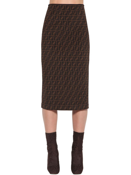 FENDI All Over Logo Intarsia Pencil Skirt in black / brown