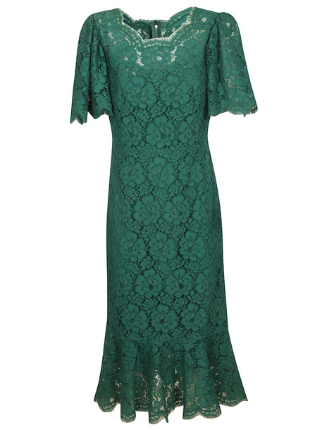 Dolce & Gabbana Floral Lace Dress in green