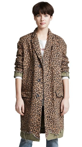 R13 Shredded Coat in leopard