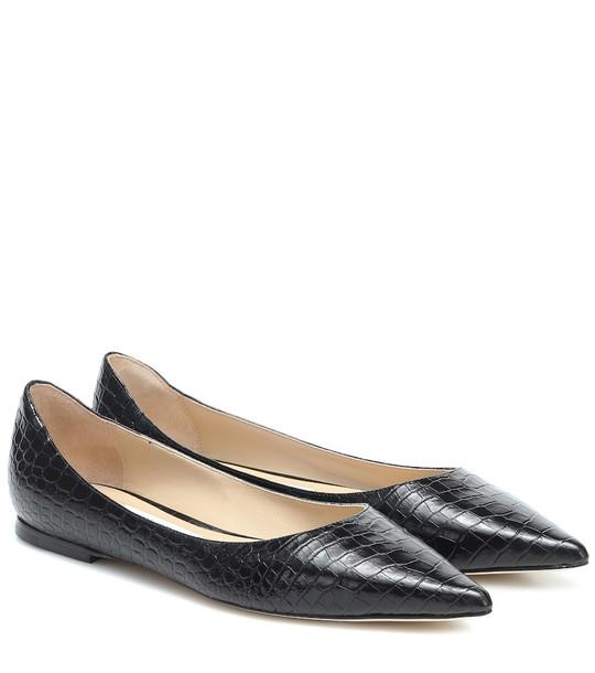 Jimmy Choo Love leather ballet flats in black