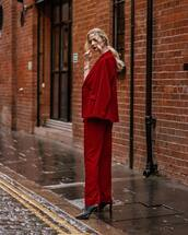 jacket,blazer,double breasted,red,topshop,pleated,straight pants,black boots,heel boots