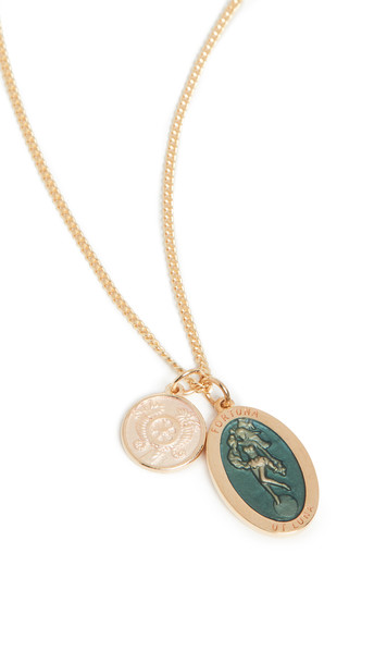 Miansai Fortuna Pendant Necklace in teal / gold