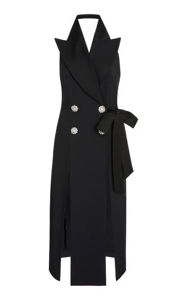 Attico Crystal-Embellished Cotton-Blend Halter Dress in black