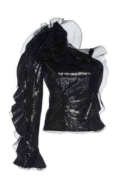 Dundas One Shoulder Ruffled Sequin Top in black