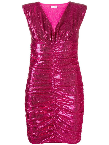 P.A.R.O.S.H. sequinned ruched mini dress in pink