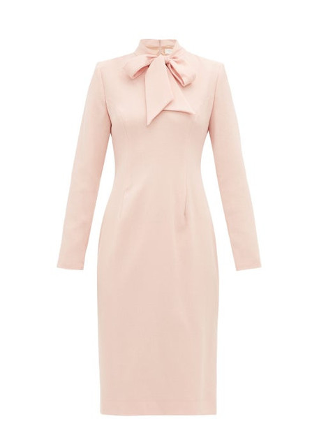 Goat - Isabelle Pussy Bow Wool Crepe Dress - Womens - Light Pink