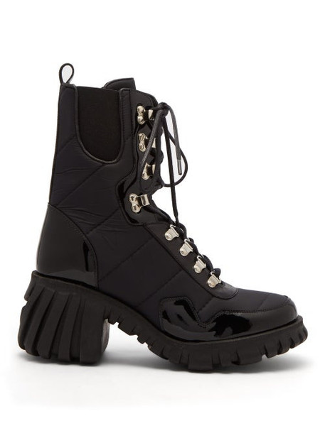 Marques'almeida - Chunky Sole Quilted Leather Trimmed Boots - Womens - Black