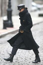 coat,irina shayk,model,model off-duty,fw,versace,black