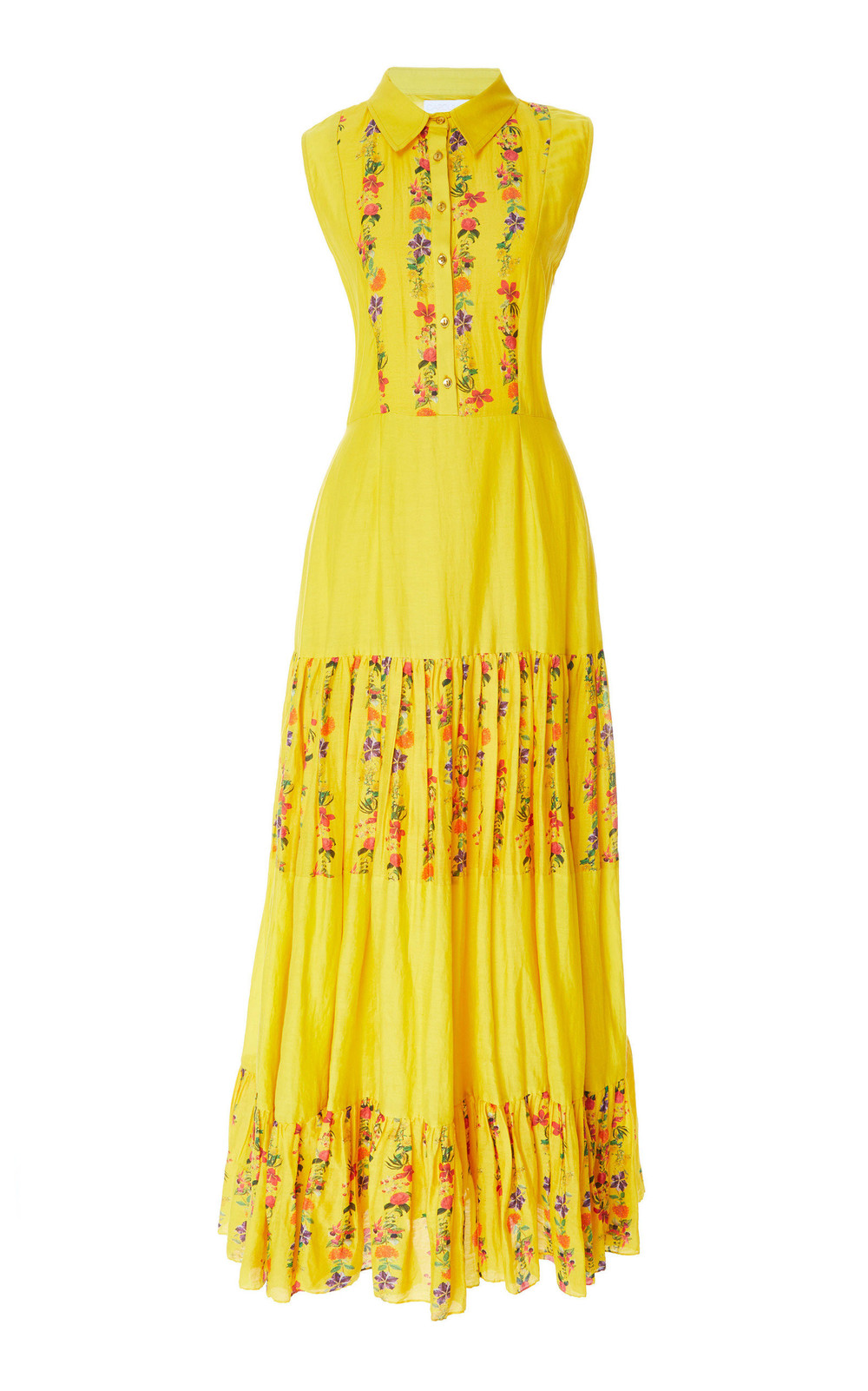Carolina K Nia Pleated Floral Cotton-Blend Maxi Dress in yellow