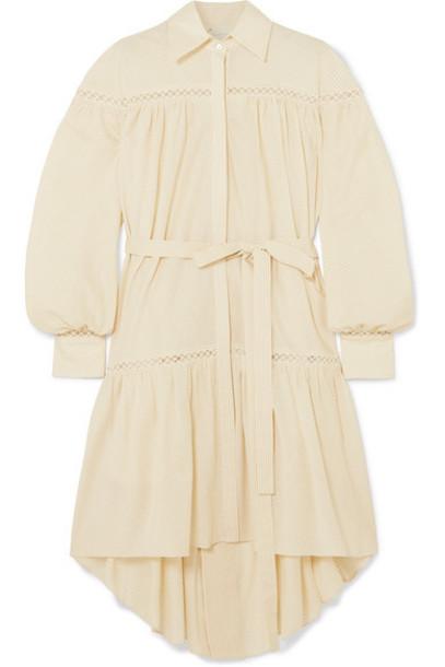 ARJÉ ARJÉ - Ami Embroidered Tulle-trimmed Striped Silk-poplin Dress - Beige