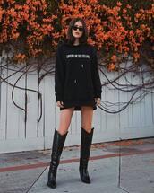 sweater,black hoodie,black boots,crocodile,knee high boots,black sunglasses