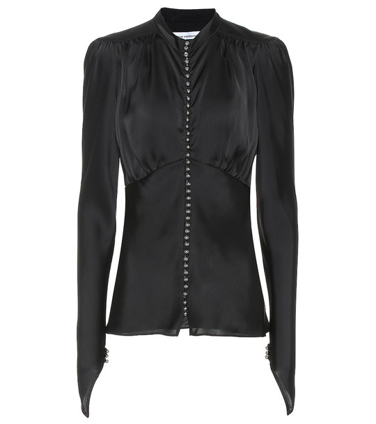 Paco Rabanne Satin blouse in black