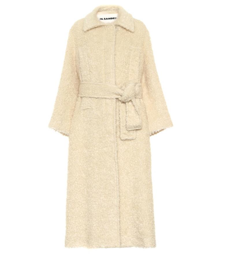 Jil Sander Belted mohair-blend coat in neutrals