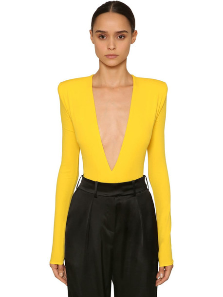 ALEXANDRE VAUTHIER V Neck Stretch Jersey Bodysuit in yellow