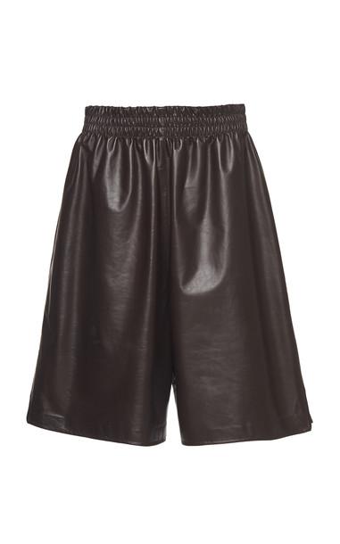 Bottega Veneta Long Leather Shorts in brown