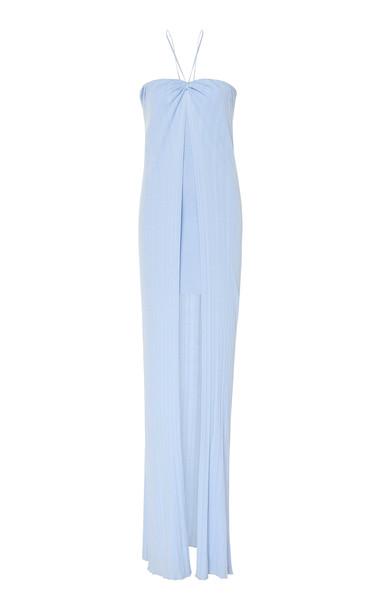 Jacquemus Siena Halterneck Linen-Blend Dress in blue