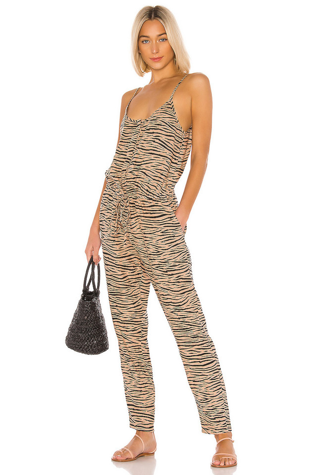 Enza Costa Linen Strappy Jumpsuit in brown