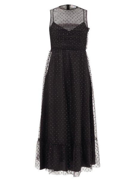 Redvalentino - Glitter Polka-dot Tulle Midi Dress - Womens - Black