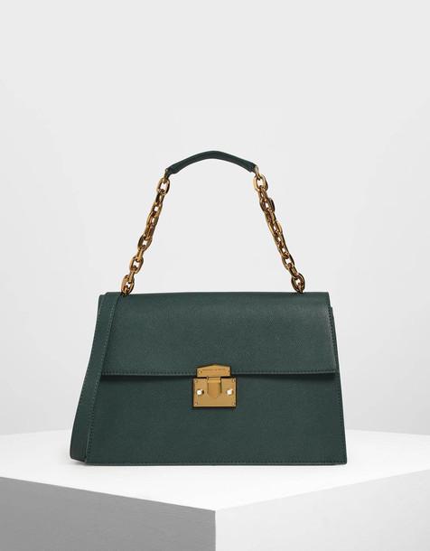 Chain Handle Shoulder Bag in green