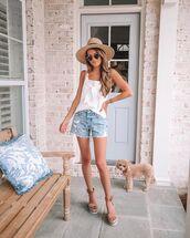 top,tank top,white top,denim shorts,platform sandals,sun hat
