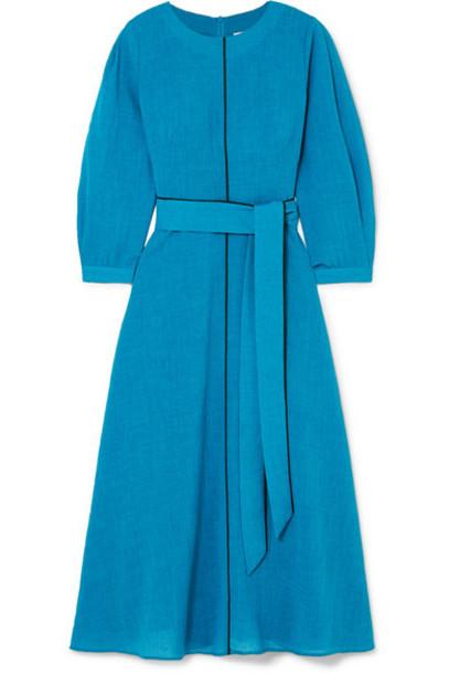 Cefinn - Isabel Belted Voile Midi Dress - Blue