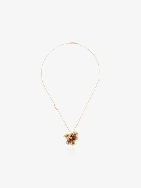 Bibi Van Der Velden 18K gold tulip sapphire necklace
