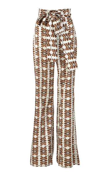 Silvia Tcherassi Polianthus Satin Straight-Leg Pants in red