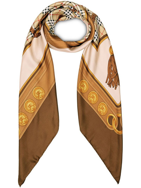 Burberry reissued archive tassel print scarf in brown