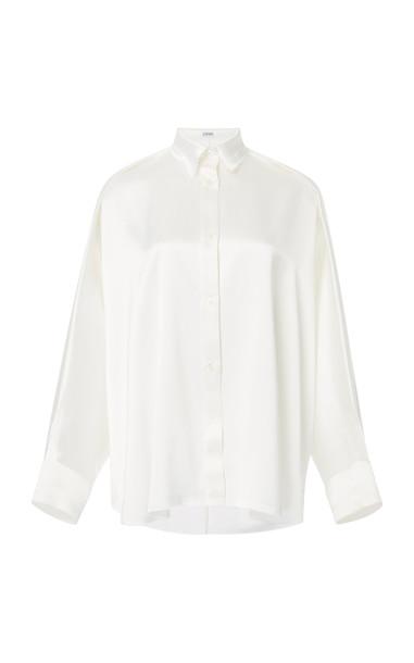 Loewe Oversized Satin Shirt in white