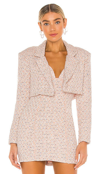 For Love & Lemons Dionne Cropped Blazer in Blush