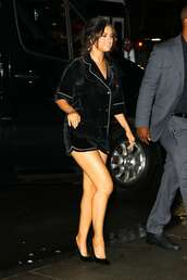 top,pajamas,shirt,black,all black everything,selena gomez,celebrity,shorts