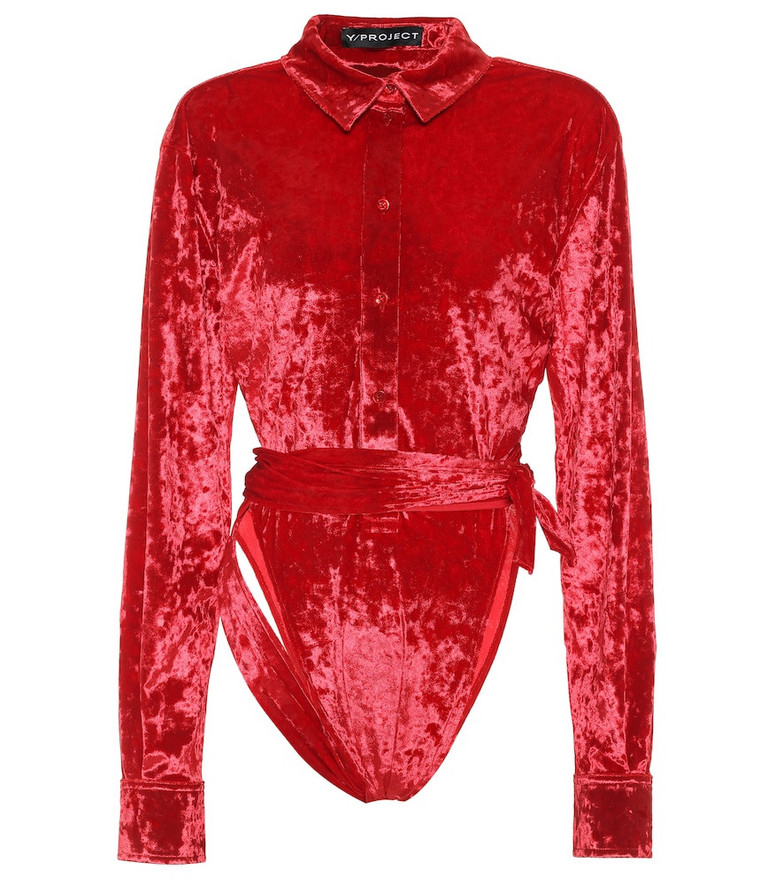 Y/PROJECT Stretch-velvet bodysuit in red